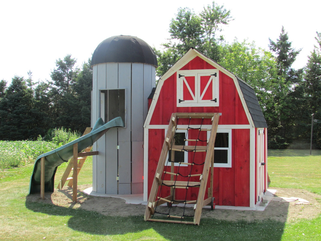 Photos of past builds custom shed builder for Barn and silo playhouse